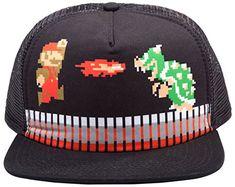 NINTENDO Super Mario Brothers Trucker Snapback Baseball Cap Black @ niftywarehouse.com #NiftyWarehouse #Mario #SuperMario #Nintendo #VideoGames #Gaming #MarioBrothers