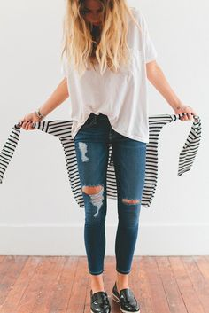 everyday style. distressed jeans. white tee. stripes.