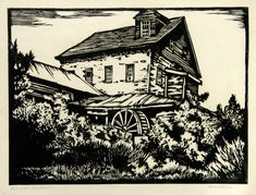 William Seltzer Rice, Mill on the Stanislaus, linocut, c. 1940