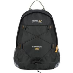 The compact Survivor hiking rucksack from Regatta with up to capacity. Made from tough-wearing ripstop fabric with a mesh airflow back construction. Weight is stabilised with an adjustable chest harness. With multiple pockets and a bungee cord. Costa, Zip Puller, Bungee Cord, Jansport Backpack, Outdoor Outfit, Backpacker, North Face Backpack, Cloth Bags, Bleu Marine