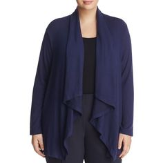 B Collection by Bobeau Curvy Ami Drape Front Cardigan ($51) ❤ liked on Polyvore featuring plus size women's fashion, plus size clothing, plus size tops, plus size cardigans, navy, drapey tops, drape front top, cardigan top, bobeau and bobeau tops