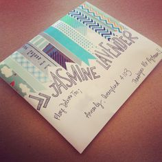 Envelope with washi tape and hand-lettering, mail art and art journal inspiration Mail Art Envelopes, Addressing Envelopes, Invitation Envelopes, Pen Pal Letters, Pocket Letters, Envelope Art, Envelope Design, Decorated Envelopes, Handmade Envelopes
