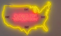 """America"" (2017) Neon by artist Touba Alipour, part of the Untitled Space's ""One Year of Resistance"" exhibition."