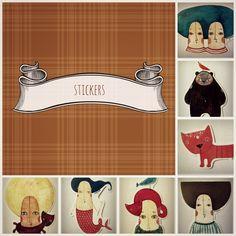 Stickers by Zsuzsi Kardos, via Behance Handmade Accessories, Behance, Stickers, Decals