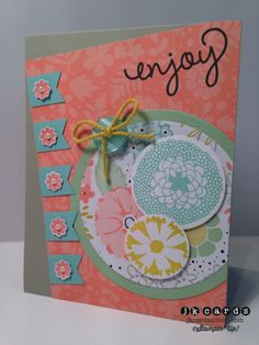 Stampin' Up!, Mojo 338, Petal Parade, Banner Blast, Simply Celebrate, Sweet Sorbet DSP, Circle Collection Framelits, 1 3/4 Circle Punch, 1 1/4 Circle Punch, Banner Punch, Itty Bitty Shapes Punch Pack, Subtles Designer Buttons, Sweet Sorbet Accessory Pack, Basic Jewels Pearls