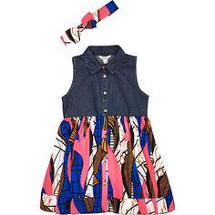 Mini girls denim geometric hybrid dress