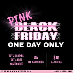 Customize this design with your video, photos and text. Easy to use online tools with thousands of stock photos, clipart and effects. Free downloads, great for printing and sharing online. Instagram Post. Tags: black friday, one day only sale, pink and black, promotion flyer, social media / facebook / instagram post ad, Black History Month, Black Friday , Black Friday Poster Templates, Flyer Template, Facebook Instagram, Instagram Posts, Post Ad, One Day Only, Share Online, Free Downloads, Social Media Graphics