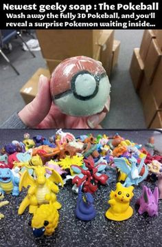 Got to wash them all - Pokemon Soap. My hands would always be so clean!!!!!!!!!!!!!!!!! I want this sooooo bad!!!!