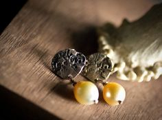 Beloved Earrings in silver with a large gold South Sea Pearls.  habbibi