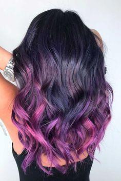 24 inspiring purple hair color ideas purple ombre ombre and hair Violet Hair Colors, Dyed Hair Purple, Bright Hair Colors, Hair Color Purple, Hair Dye Colors, Hair Color For Black Hair, Cool Hair Color, Purple Ombre, Color Black