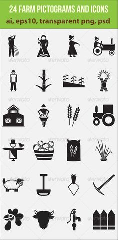 24 Farm Pictograms and Icons .This image is available on GraphicRiver.