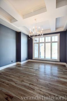 Flooring color :: veranda interiors ----- I am LOVING the Navy/Grey walls with the ivory ceiling and wood floors!