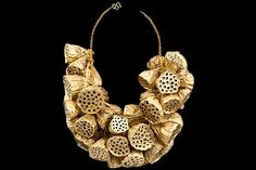 Thai Gold Painted Large Dried Sunflower Heads, On A Golden Glass Small Beads Twisted Bands Necklace