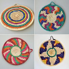Plate Wall Decor, Diy Wall Decor, Plates On Wall, Rope Crafts, Diy Home Crafts, Sisal, African Home Decor, Bubble Art, Baskets On Wall