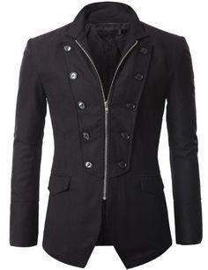 Doublju Mens Jacket Blazer with Zipper. #Gothic #Blazer #Men #Dark