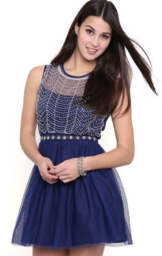 Deb Shops Short Skater Dress with Sequin Stone Mesh Illusion Neckline $39.30