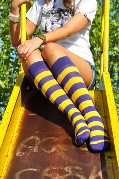 purple and gold LSU Rugby Knee High Socks!!! Geaux Tigers!