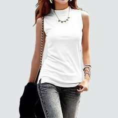 Trends Angel-sleeveless solid color Tops