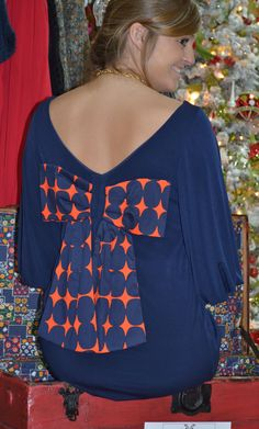 Judith March Design - Navy V Back with Bell Sleeves with Orange and Navy Dot Bow in Back (back shown)