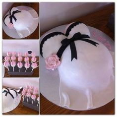 Baby shower pregnant belly cake pink
