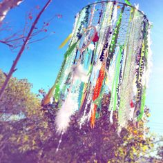 #dreamcatcher #mobile #babies room #bright green #macaw feathers