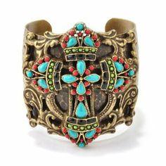 Sweet Romance Adjustable Mayan Cross Cuff Bracelet Ollipop. $70.00