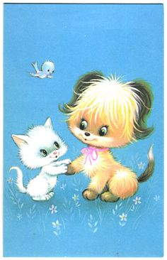 Vintage greetings card - cat, dog and bird by Dilys Treacle Treasures, via Flickr