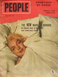 Marilyn Monroe on the cover of People magazine, 25 July, 1956, Australia. Bed sitting. Photo by Milton Greene, 1953.