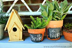 Chalkboard painted terracotta pots