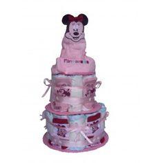 Un gâteau de couches Disney Minnie avec deux paires de chaussettes et un doudou de qualité pour baby shower ou naissance cadeau original