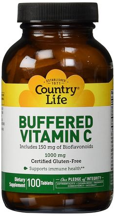 Country Life Buffered Vitamin C Rh, 1000 mg, Plus Citrus Bioflavonoids 150-Mg, 100-Count -- Click image for more details. (This is an Amazon Affiliate link and I receive a commission for the sales)