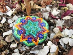 OOAK Merkabah Sacred Geometry Beaded Star, Stepping Stone For Fairy Garden, by pachamamanativeart, $19.99 Order now and receive 10% off. Use coupon code PIN10  #couponcode  #sacredgeometry