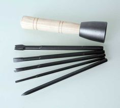 Tungsten Tipped 5 Piece Chisel Set With Dummy Hammer Carving Tools, Stone Carving, Limestone Block, Stone Quarry, Stone Masonry, Chisel Set, Vintage Tools, High Carbon Steel, Stone Work