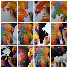 Colorido elefante pintura pared décor48cmH x 98cmW