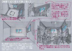 【難題!広く捉えて狭く描く】 狭い部屋の全体を写すためには広角レンズが必要だが、意図せず広い部屋に写ってしまう。しばし映像ではここに生じる難題に取り組まねばならない。つまり写す範囲は広く、部屋は狭く見せるというレイアウトだ。