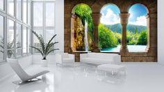 Calm Lake with Waterfall View Through Arches Wallpaper Mural Consalnet http://www.amazon.com/dp/B00GEFB6A8/ref=cm_sw_r_pi_dp_RLyCvb19YQVR7