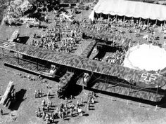 """jasta11: """" German """"Zeppelin-Staaken R.VI"""" bomber, 1917. P.S.: Note the triplane on the left corner for a size reference. """""""