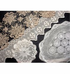 4 Assorted Vintage Crocheted Pieces Doilies  Edge Trim | AestheticsAndOldLace - Home Decor on ArtFire