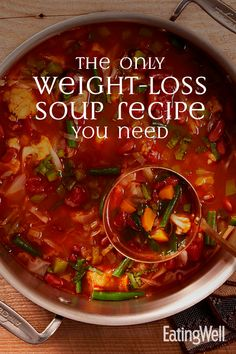 Cook up a big batch of our popular vegetable weight-loss soup recipe for a healthy meal that keeps you satisfied. soup The Only Weight-Loss Soup Recipe You Need Weight Loss Meals, Weight Loss Soup, Losing Weight, Low Carb Vegetable Soup, Low Carb Vegetables, Weight Loss Vegetable Soup Recipe, Detox Vegetable Soup, Vegetable Soup Recipes, Healthy Soup Recipes