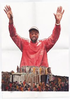 Poster of an original painting/photo collage to commemorate the launch party of Kanye Wests seventh solo studio album The Life of Pablo.