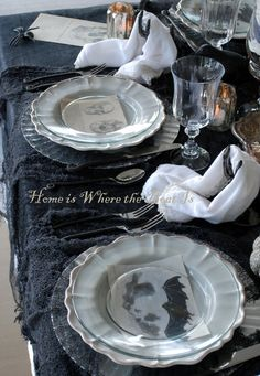 Cloche Encounters for All Hallows' Eve Table | homeiswheretheboatis.net #Halloween #tablescape