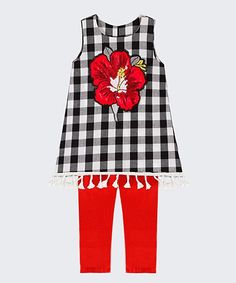 Black Buffalo Check Betsy Tunic & Red Leggings - Toddler & Girls