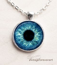 Sky blue Eye Necklace, Eye Pendant, Eye Jewelry, Human Iris Necklace, Eye necklace  (N0045)