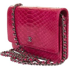 Preowned So So Rare Chanel 'tres Chic' Woc In Fushia Pink Python With... ($6,410) ❤ liked on Polyvore featuring bags, pink, pink bag, chanel, python bag, preowned bags and purple bag