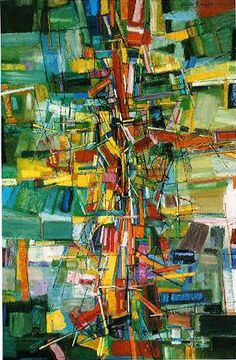 """Wave-Corpuscular-Movement 1956, oil on canvas, 44"""" x 30,"""" Alfred Russell"""