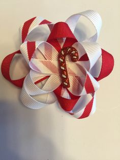 Candy cane hair bow by TotBowsByMaria on Etsy