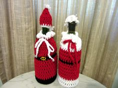 Christmas Wine Bottle Bags  Santa and Mrs. by JIJCollectibles