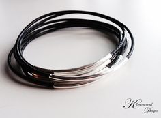 Black Leather Bangle Bracelet Silver Tube Leather by KTownesend