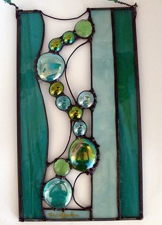 Turquoise Waters art glass panel accented with large small nuggets