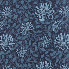 HONEYSUCKLE in Dark Blue 8115-23 - Best of Morris Indigo - Barbara Brackman for Moda Fabrics - 1 Yard